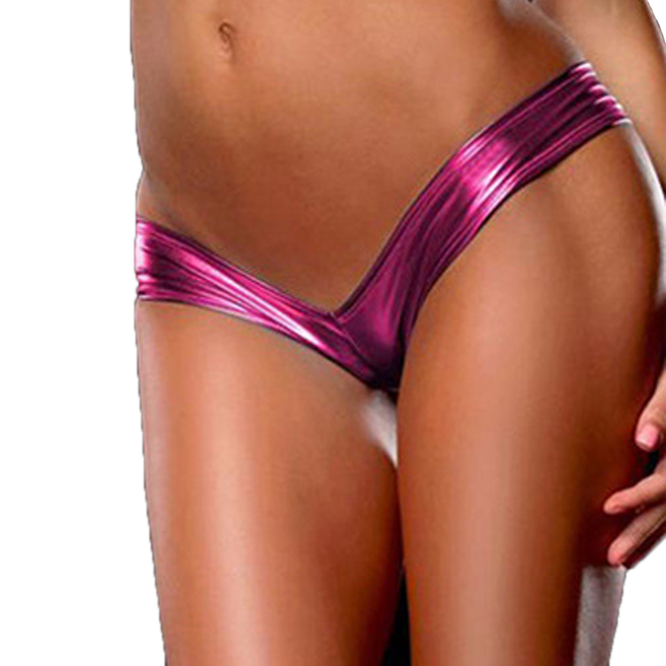 Glamour Women Sexy Panties Metallic Color G String Micro Thong Special Shiny Underwear Ladies Tanga Pu Leather Lingerie