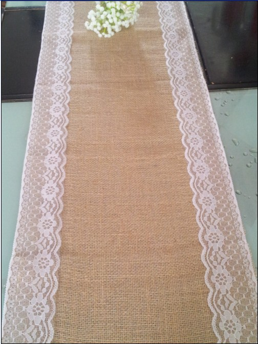 ᐅ30CM*270CM burlap lace wedding table runner/ jute burlap table ...