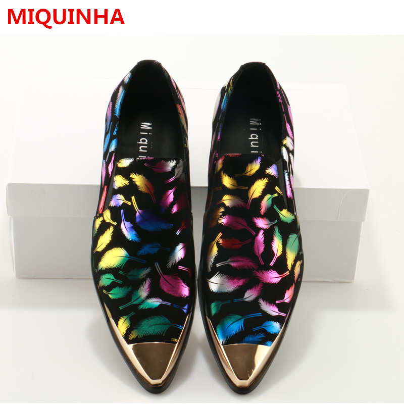 Plus 2017 Shoes Man Pointed Metal Toe Tide Feather Printed Shallow Cozy Flats Slip On Man Casual Shoes Designer Man Dress Shoes 2017 summer new fashion sexy lace ladies flats shoes womens pointed toe shallow flats shoes black slip on casual loafers t033109