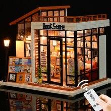 Миниатюрный Кукольный домик мини Каса DIY Кукольный дом с мебелью светодиодный светильник книжный магазин дом модель подарок игрушки для взрослых детей# E