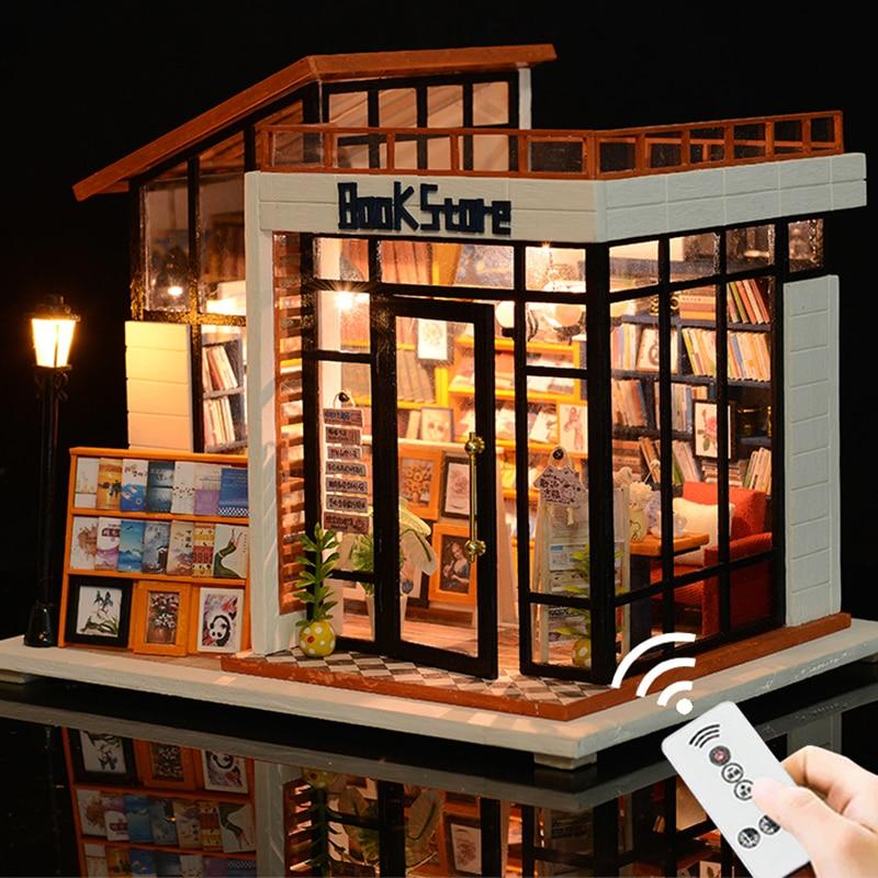Maison de poupée Miniature Mini Casa bricolage maison de poupée avec meubles lumière LED magasin de livres maison modèle cadeau jouets pour adultes enfants # E
