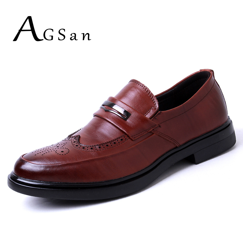 AGSan Genuine Leather Men Brogues Shoes Slip On Business Dress Men Oxfords Shoes Male Formal Shoes Black Brown Brogue Masculino пылесос centek centek ct 2514