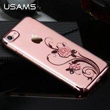 USAMS Марка Цветочный Серии Красивый Цветочный Дизайн Ясно PC Back Case For iPhone 7/Для iPhone 7 Plus, с Bling Bling rhineston