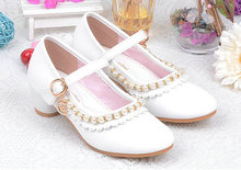 Beautiful Children Kids Girls pearl Leather shoes Princess Sandals High Heels Stage show