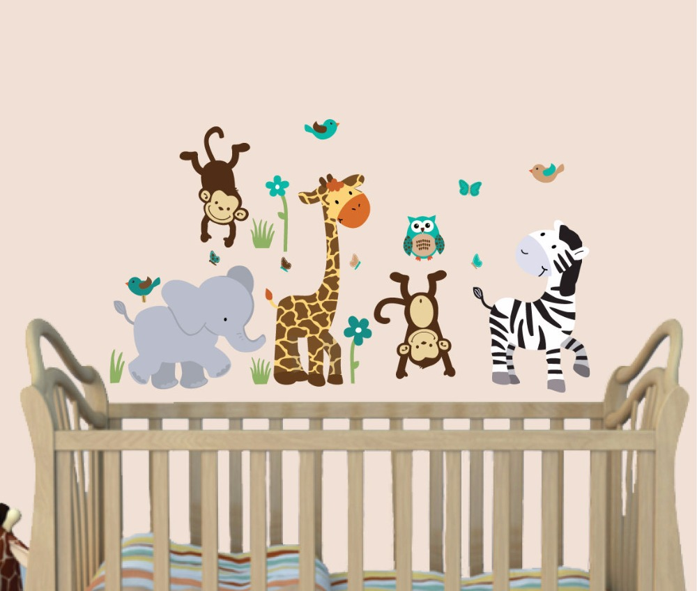 Wild animals decal elephant decal elephant wall decor for Stickers pared bebe