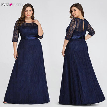 Elegant Plus Size Evening Dresses Long 2020 Ever Pretty EP08878GY A-line Lace Half Sleeve Grey Formal Party Gowns for Wedding 4