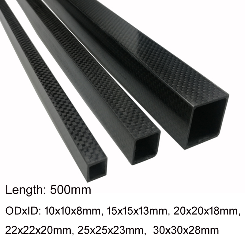 TianYuQi 1pcs 3K full carbon fiber square tube high strength length 500mm OD 10mm 15mm 20mm 22mm 25mm 30mm Glossy Surface|Parts & Accessories| |  - title=