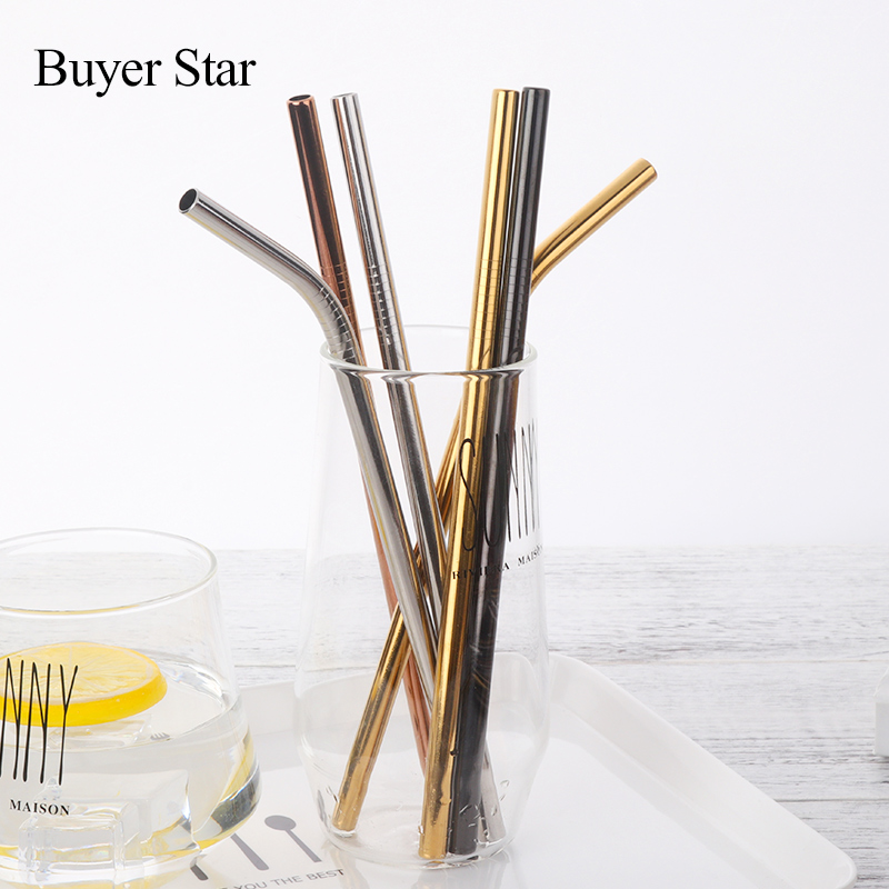 100pcs lot Stainless Steel Drinking Straws Cleaner Brush Reusable Diameter 8mm Bend Metal Straw Gold Black