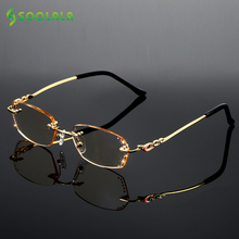 SOOLALA Rhinestone Anti Blue Light Reading Glasses Women Diamond Cutting Rimless Glasses Men Golden Reader Presbyopic Eyeglasses