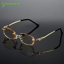 SOOLALA Strass Anti Blau Licht Lesebrille Frauen Diamant Schneiden Randlose Brille Männer Goldene Reader Presbyopie Brillen