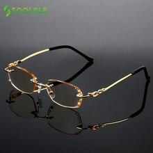 Soolalaラインストーン抗青色光老眼鏡女性ダイヤモンド切削リムレスメガネ男性ゴールデンリーダー老眼眼鏡