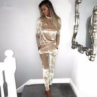 3XL 2018 Women Two Piece Set Female Winter Tracksuit Velvet Hoodies Top + Pants Ladies Long Sleeve Outfit Femme Sporting Suits