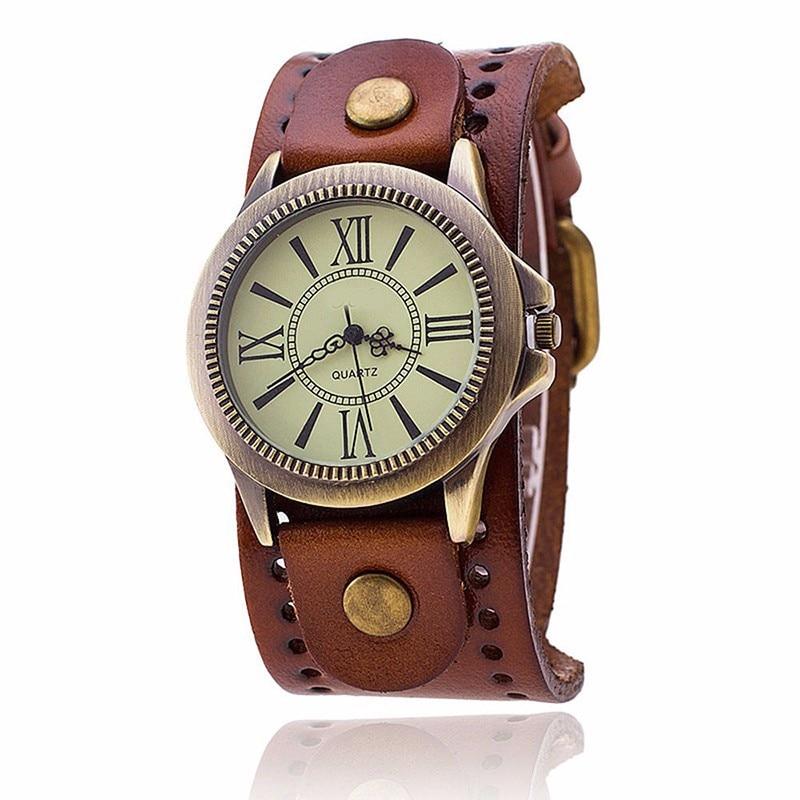 New Fashion Vintage aproce kvarca rokas pulksteņi vīriešu sieviešu luksusa zīmolu retro stila īstas ādas pulksteņi 2017