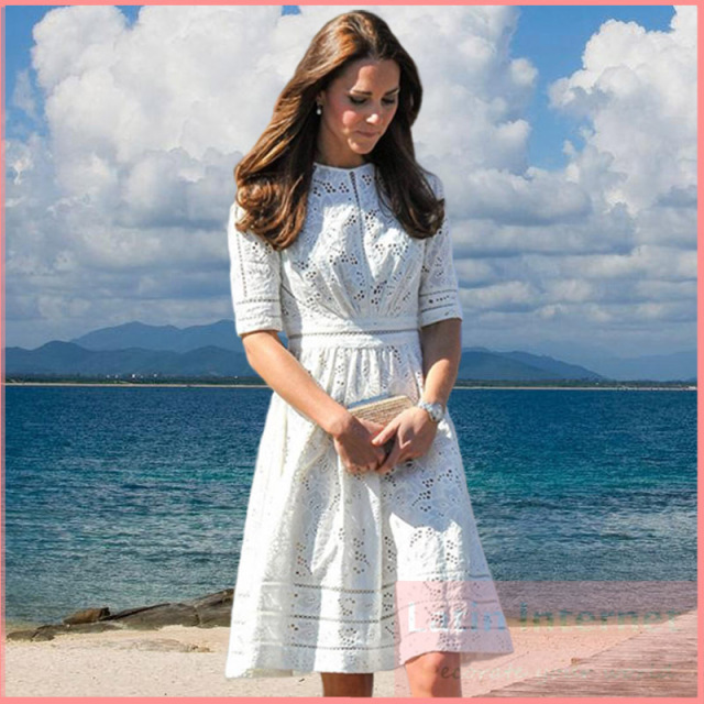 4dfb313d8ea Kate Middleton Fashion Princess Dress Women s Elegant White Cotton  Embroidery Hollow Casual High Quality Dress Lace Summer Dress