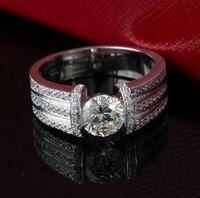 Diamond Jewelry 1 Carat 925 Silver Ring SONA Synthetic Diamond Ring Luxury Male Jewelry Size Customizable