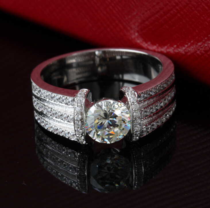 1 carat 925 silver sona synthetic diamond wedding ring for for Men s 1 carat diamond wedding bands
