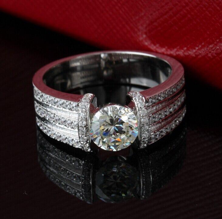 Bague de mariage en diamant synthétique SONA argent 925 1 carat pour hommes, bijoux de luxe pour hommes, bague pour hommes personnalisable (JSA)