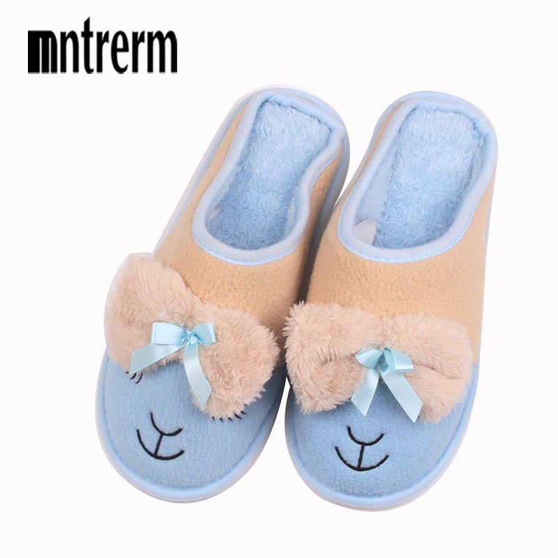 2017 Winter Women Slippers Cartoon Hello Kitty Slippers Indoor Home Shoes Warm Adult Shoes Plush Pantufas with Bowtie Loafers