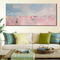 MUYA Large Abstract Painting Canvas Art Acrylic Painting Hand Painted Canvas Oil Painting Pink Wall Pictures