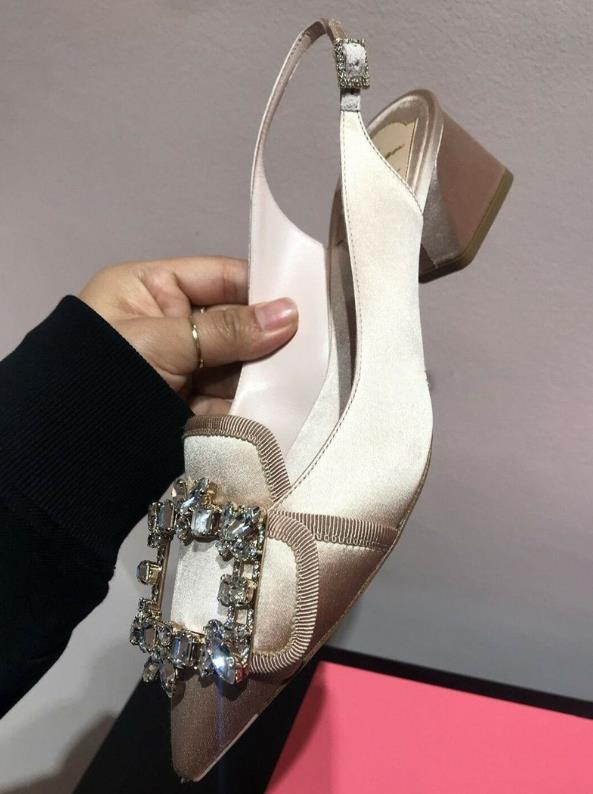 Zapatos Y De púrpura marrón azul Cuadrada Nuevo 2019 Vacío Otoño Primavera Negro Mujer Moda Baotou Después Diamante Cielo Hebilla Punta gx5YOwq