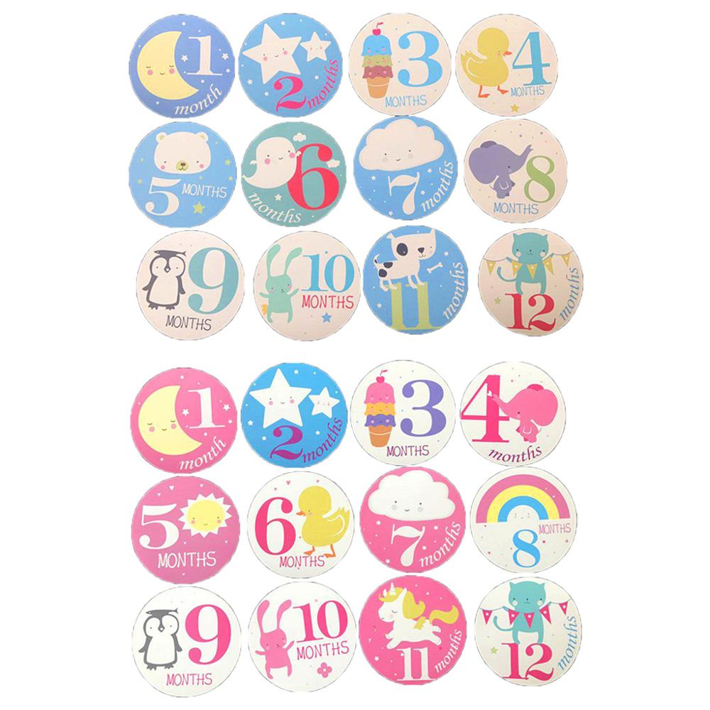 12 Pcs/set Pregnant Women Photography Monthly Stickers Fun Lovely Baby Cartoon Girls Boys Month 1-12 Picture Frame Decoration St