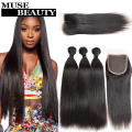 Beauty Peruvian Virgin Hair Straight 3 Bundles With Closure Peerless 8A Peruvian Straight Hair With Closure Queen Peruvian Hair
