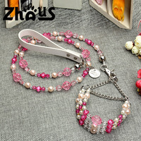 Pink Crystals Pets Dog Cat Chains Leash Set Beading Pet Dog Collars Lead Suit Leather Handle