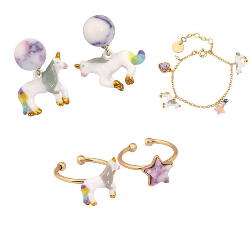 Unicorn White Horse Earrings Bracelets Choker Rings Ring Set For Woman Anime Jewerly Sets