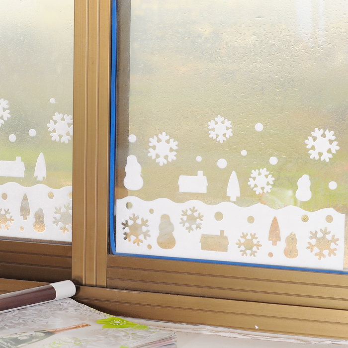 Non-woven fabric Window films Self-adhesive household Decorative waterproof stickers glass mirror wall decor sticker snowflake