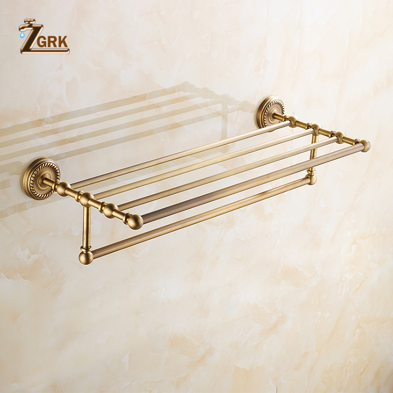 ZGRK Foldable Antique Brass Bath Towel Rack Active Bathroom Towel Holder Double Towel Shelf Bathroom Accessories 9603-MH aluminum foldable antique brass bath towel rack active bathroom towel holder double towel shelf with hooks bathroom accessories