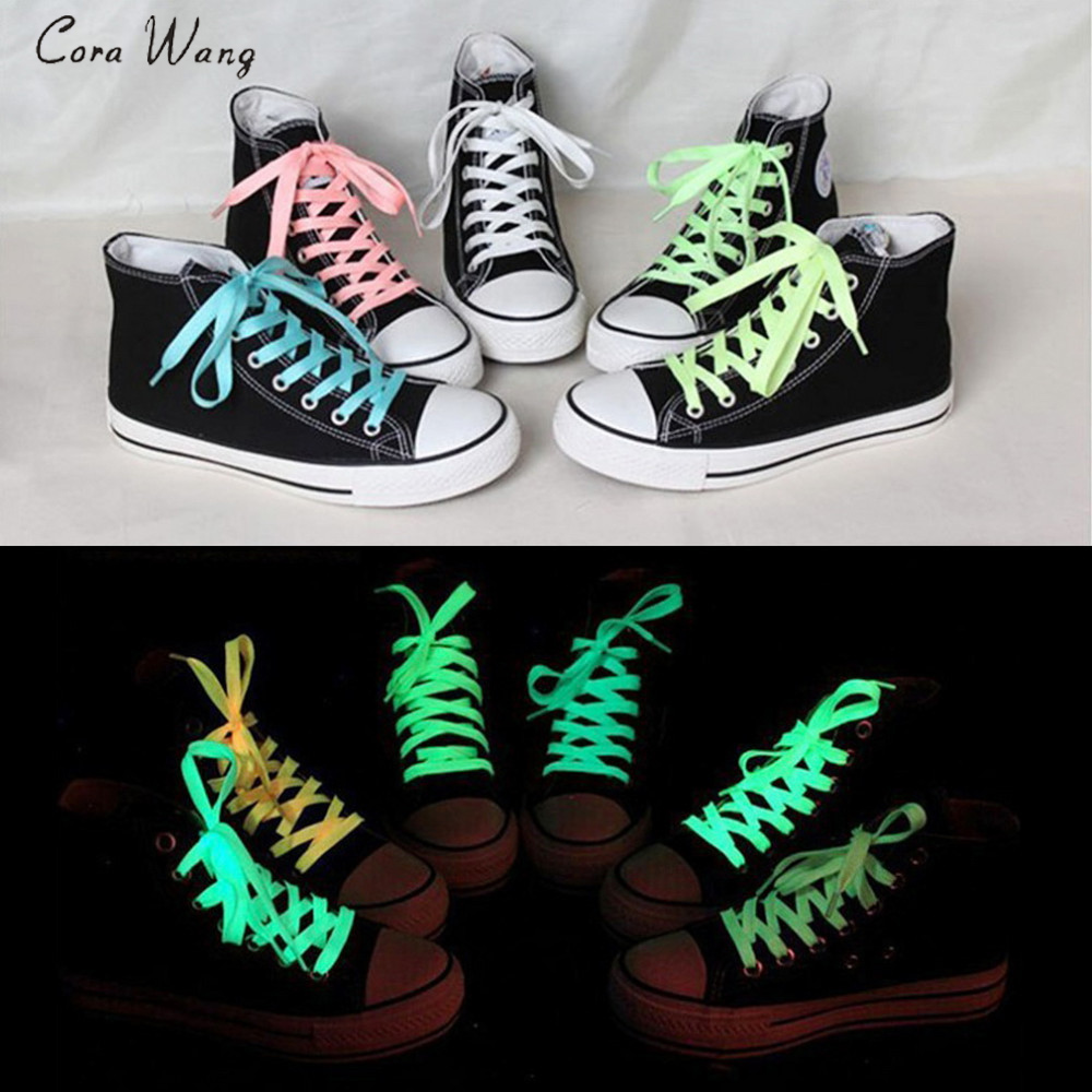 CORA WANG 1 Pair 100cm/ 80cm Sport Men Women Luminous Shoelace Glow In The Dark Fluorescent Shoelace Flat Shoe Laces ASL661C