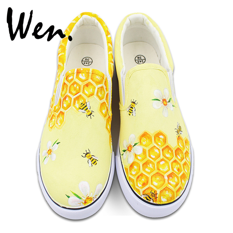 Wen Honeycomb Bees Original Design Hand Painted Shoes Unisex Slip On Canvas Sneakers for Man Woman's Gifts Presents