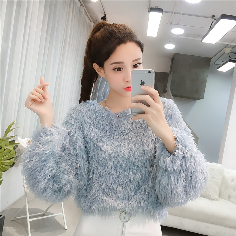 2018 New Fashion Women   Shirts   Loose Knitting Maomao Tassel Sweater   Blouse     Shirt   White Pink Blue 6537