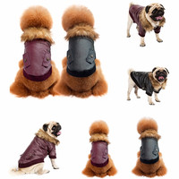 2017 S M L XL XXL Leather Jacket Pet Dog Coat Cat Fur Collar Ox Warm