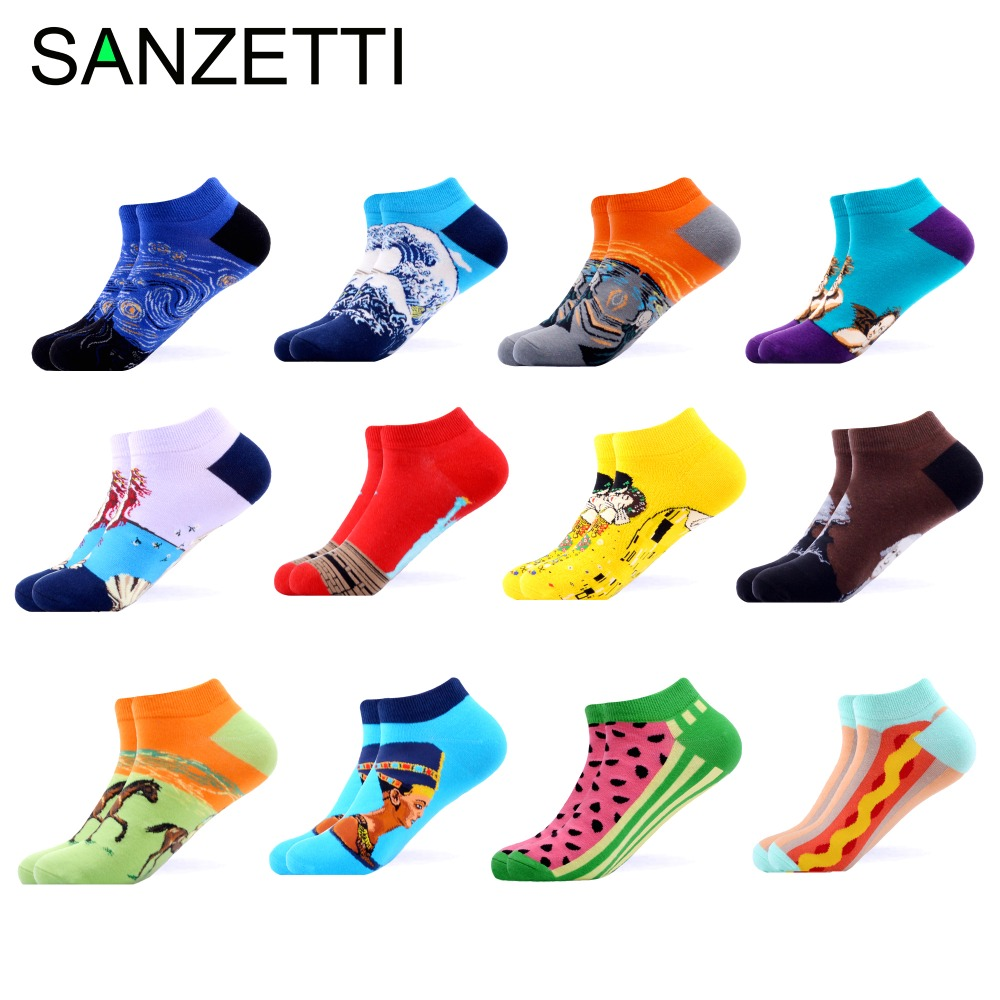 SANZETTI 12 Pairs/Lot Men's Casual Colorful Summer Ankle Socks Happy Combed Cotton Short Socks Novelty Oil Tend Dress Boat Socks