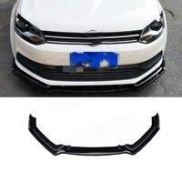 3PCS/Set Front Bumper Lip Spoiler For Volkswagen VW Polo Standard 2014 2018 Not For GTI Head Chin Shovel Protector