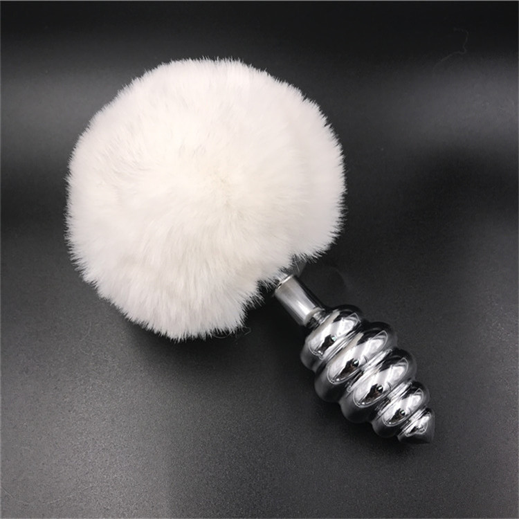 White Rabbit bunny tail Sex products alloy stainless steel Woman anal butt jewelry plug anal sex toy For Women And Men davidsource silver taper butt plug with bunny tail l size 103mm long 32mm wide faux fur anus toy anal sex fetish unisex sex toy