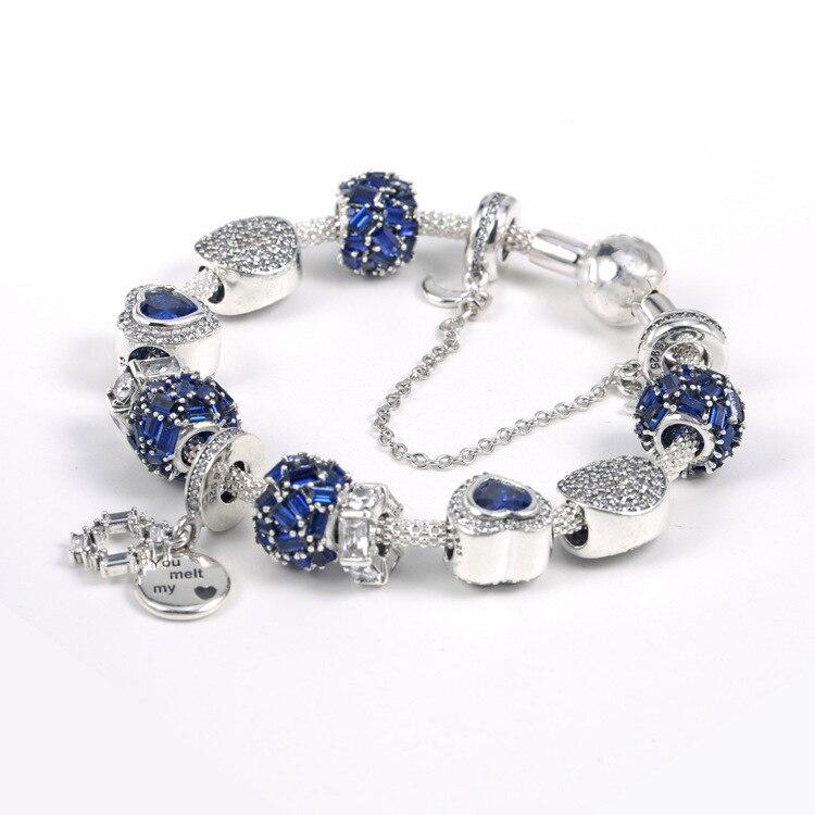 925 argent Sterling brillant brillant Clip éblouissant souhaits cristal pendentif ensemble clair CZ Fit femmes bracelet perle charme bijoux à bricoler soi-même - 2