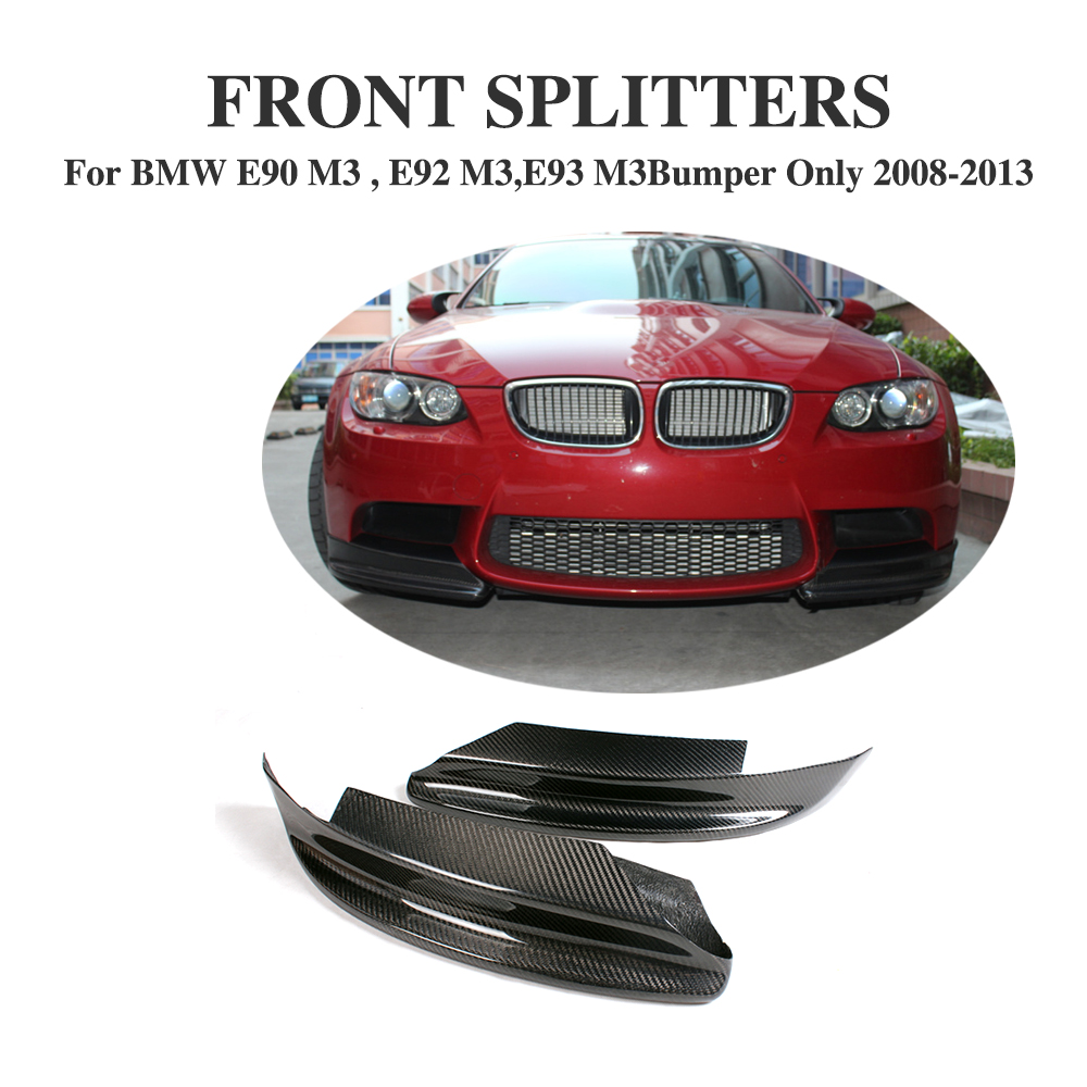 Separadores laterales delanteros de fibra de carbono barbilla delantales solapa para BMW Serie 3 E90 E92 E93 M3 parachoques 2008-2013