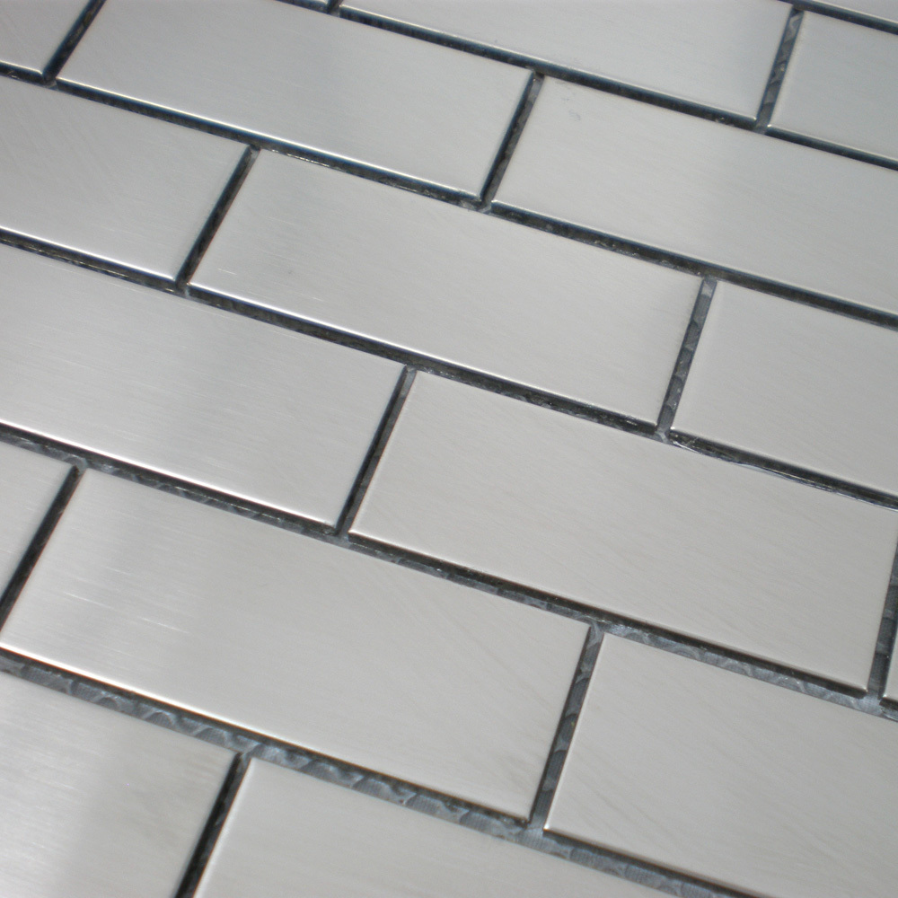 Hogar azulejos de acero inoxidable de plata del metro 2 x 4 ladrillo ...