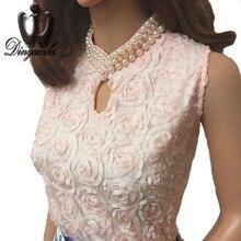 Dingaozlz Fashion Women Tops Sleeveless Chiffon blouse Elegant Beaded lace Blusas Femininas Summer Vest shirt