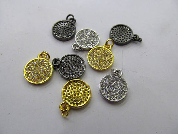 free ship--12pcs 20mm Fluorial Micro Pave Diamond Disc Pendant, Pave Black Diamond CZ Pendant, Round Charm,Heart Ring Black Gunm black diamond cat hair ring