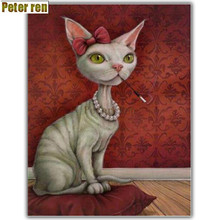 Peter ren Diy diamond painting cross stitch Craft embroidery round Mosaic icon Full Rhinestones picture Cat gripping pen