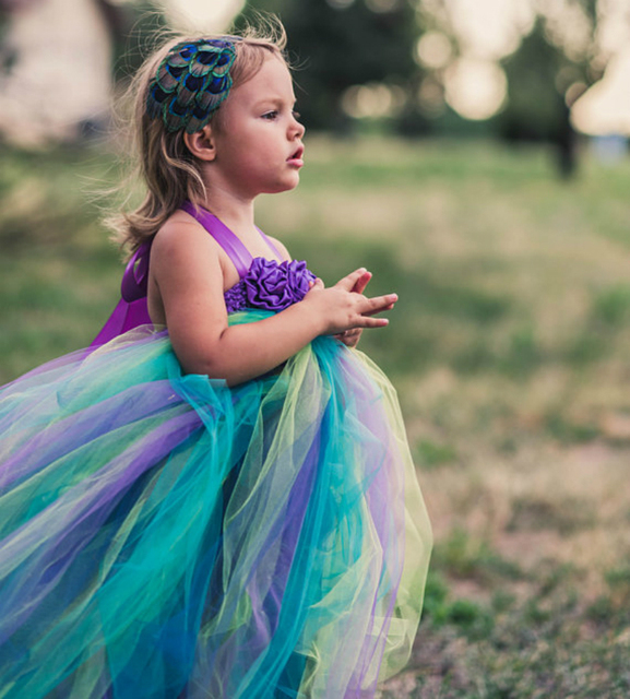 449c1771e POSH DREAM Purple Flower Peacock Children Girls Tutu Dress Flower Peacock  Theme Teal Purple Flower Girl Dress Kids Girls Clothes