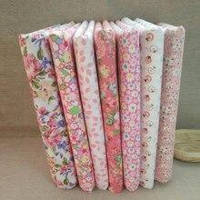 7 pçs/set Quilting Patchwork Home Textile Rosa Série Tecido de Algodão Para Costura Tilda Boneca Corpo DIY Acessórios Artesanais 25x25cm
