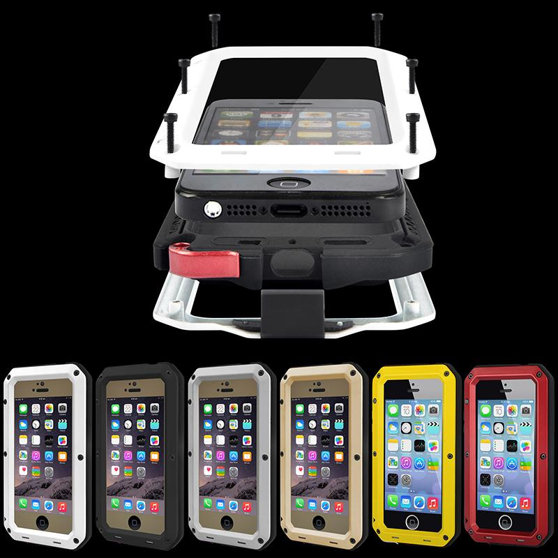 brand new 1e7cf 103d2 US $9.99 |Waterproof Shockproof Aluminum Gorilla Glass Metal Case Cover For  Apple iPhone SE 5 5S-in Half-wrapped Case from Cellphones & ...