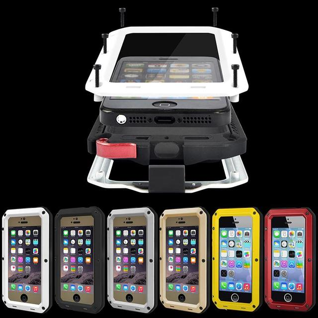 brand new 6e6f8 b11f5 US $9.99 |Waterproof Shockproof Aluminum Gorilla Glass Metal Case Cover For  Apple iPhone SE 5 5S-in Half-wrapped Case from Cellphones & ...