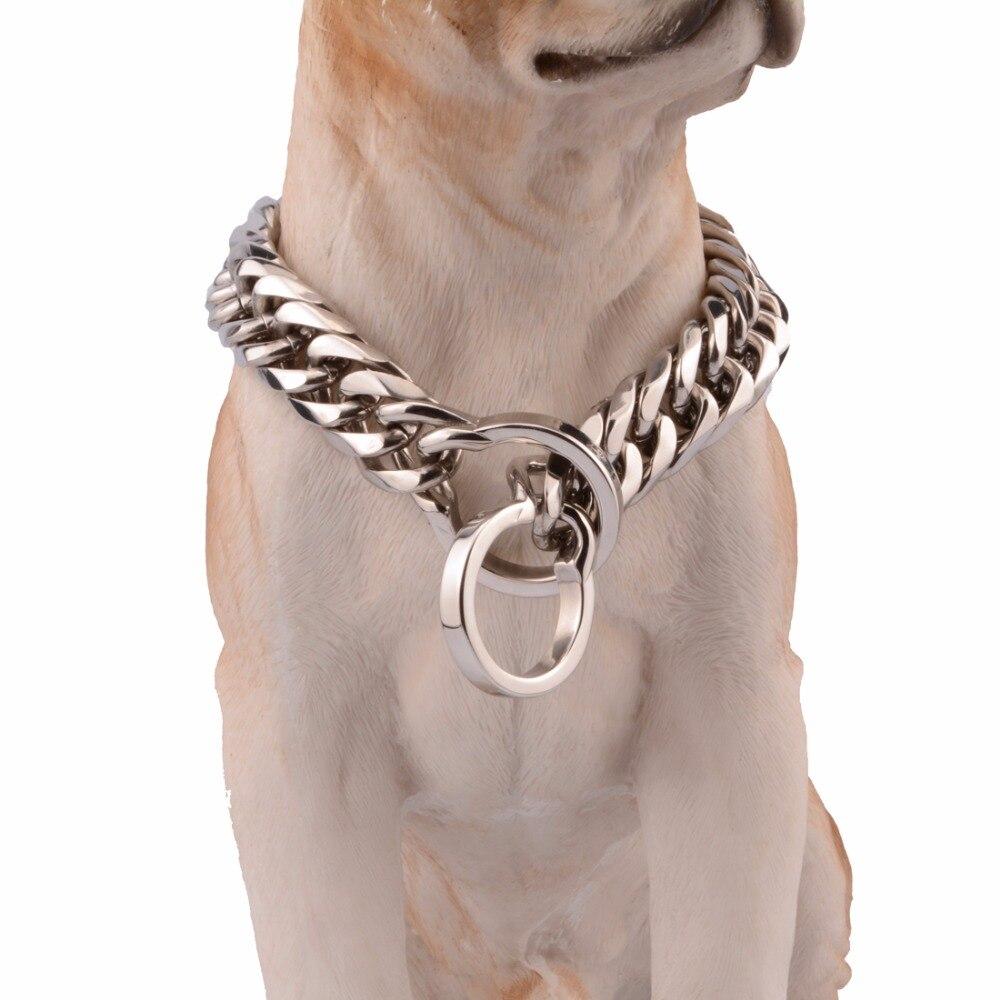 16/18mm acier inoxydable couleur argent Double bordure chaîne cubaine collier de chien collier fournitures pour animaux de compagnie 14-34 pouces bijoux en gros
