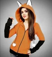 Fox Yip Hoodie Anime Fox Ears Cosplay Costume Hoodie Jacket Sweatshirt Halloween Kitsune Cosplay Costume