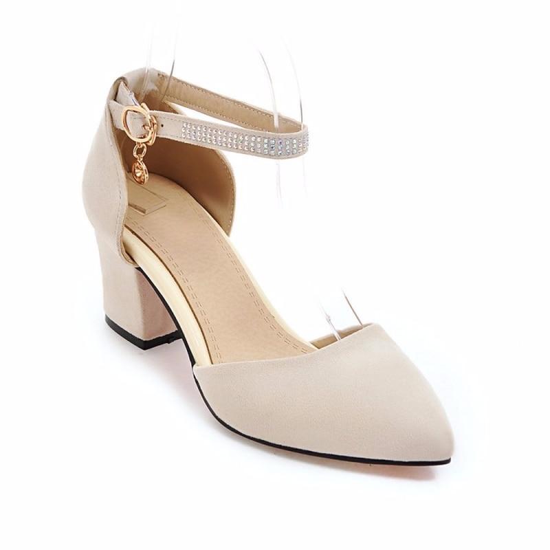 وأشار النساء مشبك الصنادل الصيف كعب سميك حذاء كاجوال السيدات عالية الكعب الزفاف حزب مضخات الإناث حذاء من الجلد المدبوغ